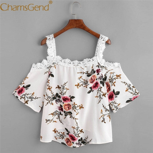 3f61f9f63d6075 Chamsgend Drop Shipping Sexy Flowers Print Strap Off Shoulder Floral Lace  Blouse Top Short Sleeve Shirt For Women 80209
