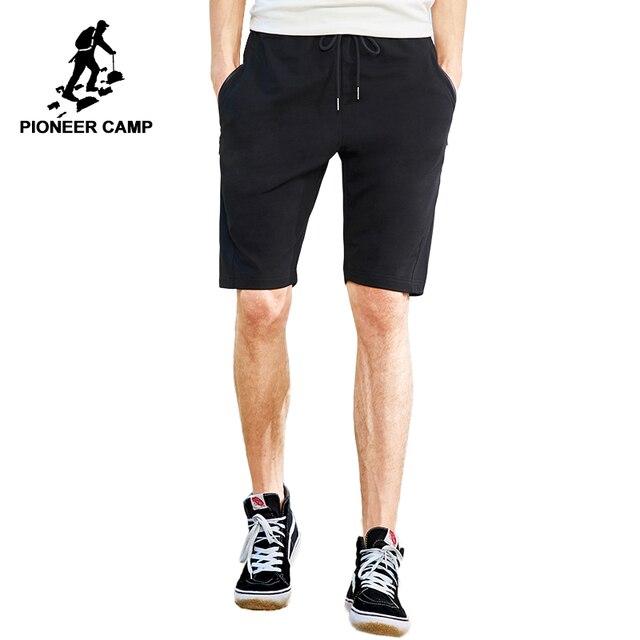 Пионерский лагерь Новые повседневные шорты брендовая мужская одежда однотонная летняя с эластичной талией укороченные штаны стрейч бермуды мужской черный ADK802107