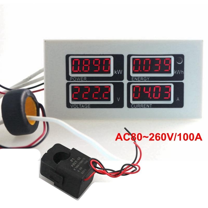 AC 110V 220V Digital 100A Ammeter Voltmeter Power Energy Meter 4 in 1 Volt Amp Watt KWh Monitor with PZCT-02 Split Coil  цены