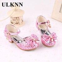 Ulknn цветок дети сандалии летние пляжные туфли принцессы для девочки для детей блеск Свадебная вечеринка sandalia детские ботинки enfant