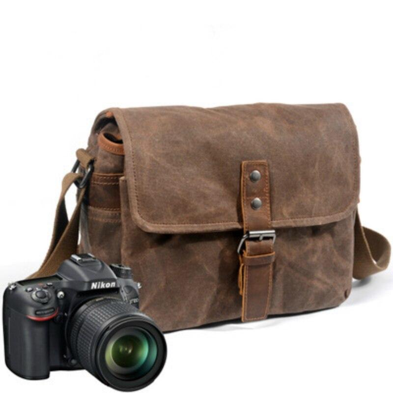 Sac photo rétro étanche paquets de photographie étui à bandoulière DSLR pour Sony Nikon Canon toile Micro unique Messenger hommes