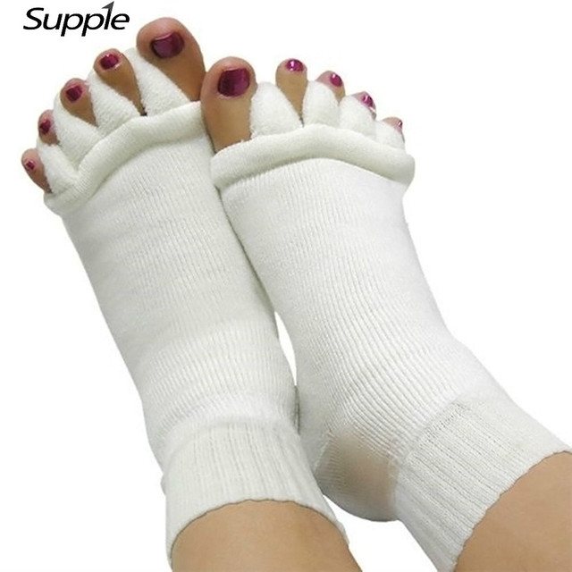 ba34fc065 1 Pair Pedicure Sock Massage SPA Yoga Five Toe Separator Socks Foot  Alignment Socks For Pain Relief Bunions Flip Flop Sock