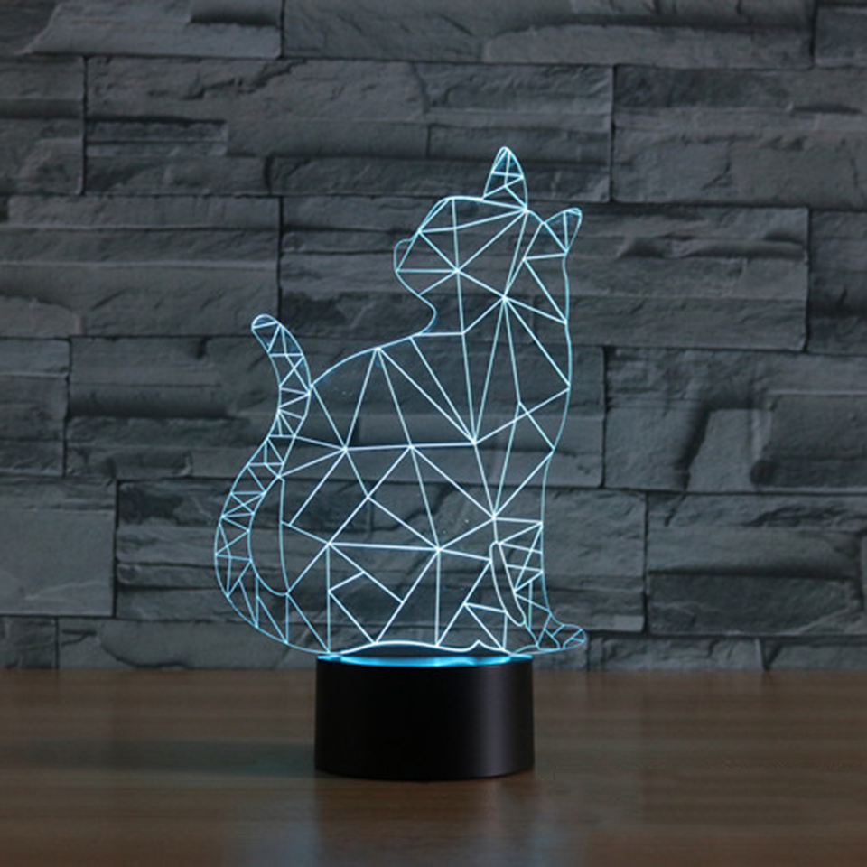 3D Led Visual 7 Color Turn OneS Head Cat Lamp NightLight For Kids Gift USB Touch Switch Table Lampara Lamp Baby Sleep Lightings