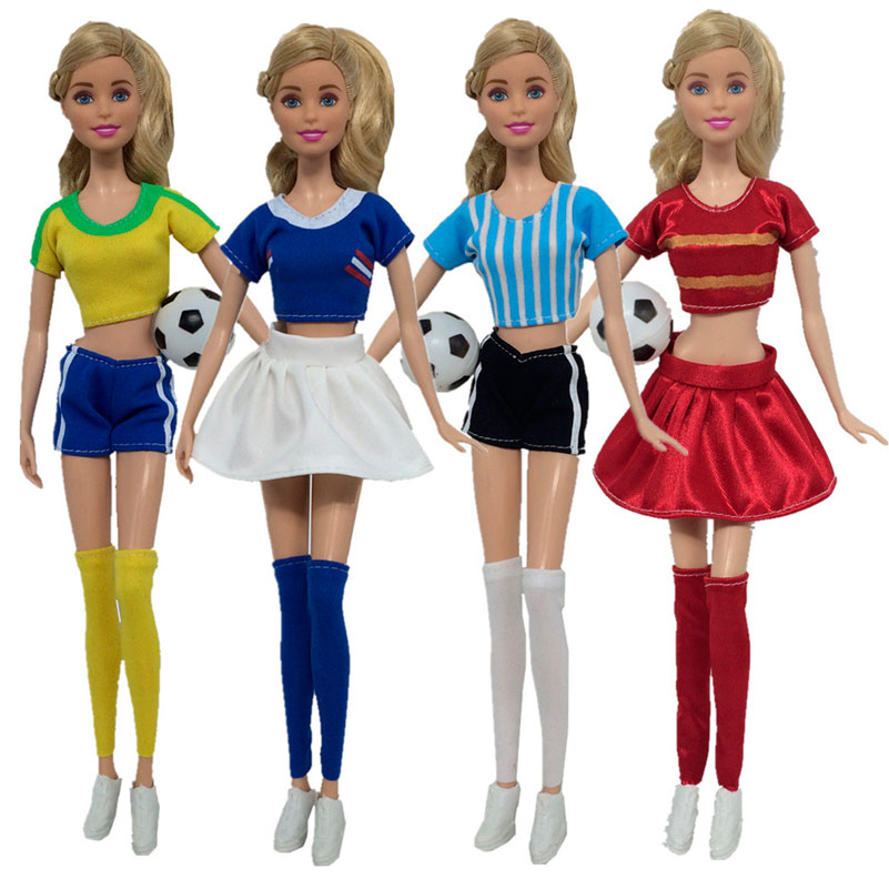 4Set/Lot Soccer Player Doll Clothes World Cup Toy Female Football Player Dress Accessory For Girl Doll Educational Toys For Kids