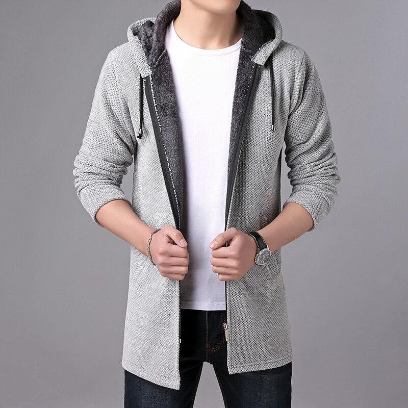 Image 4 - MIACAWOR Brand Sweater Men Hooded Cardigan Men Fleece Warm Sweatercoat Casual Wool Sweater Knitted Jackets Coats Y146-in Cardigans from Men's Clothing