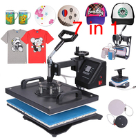 double display Heat Transfer Machine 7 in 1 T shirt/Mug/Cap/Plate/Mouth Pad/phone case printer,Upgrated Sublimation printer