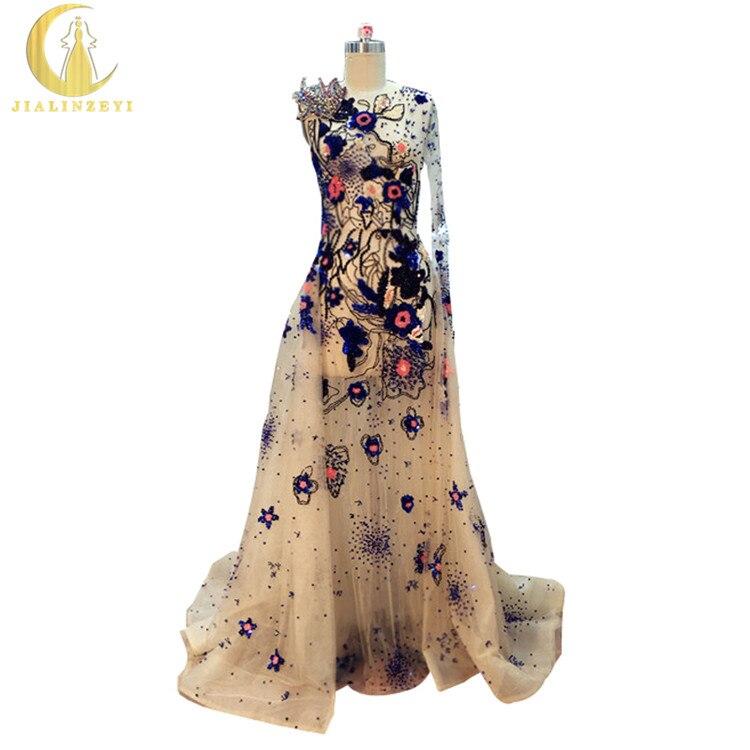 JIALINZEYI réel échantillon Image Elie Saab luxueux Champagne perles paillettes voir à travers la main travail robe de soirée robes de soirée