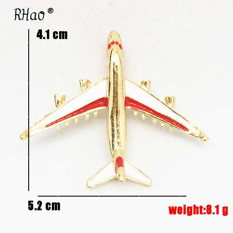 RHao 2 warna Tersedia Merah biru Enamel Terbang pesawat Bros korsase pin jilbab Gadis Kerah syal perhiasan Wanita pria pesawat