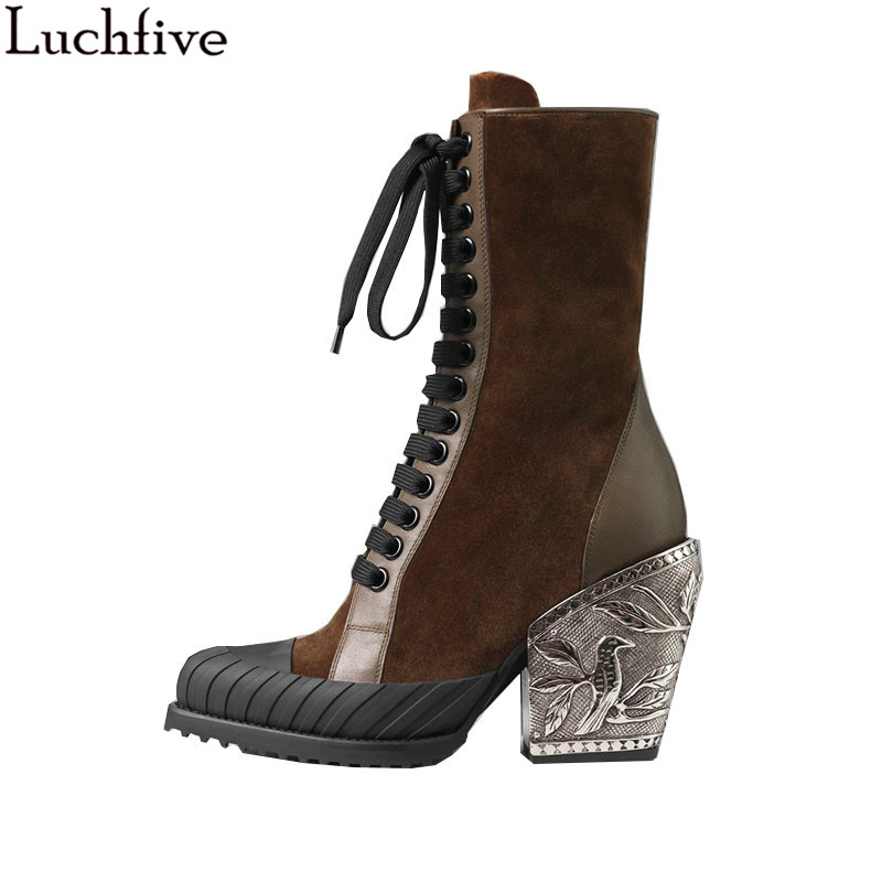 e0089b2452e Luchfive Metal Carving Pattern Decor High Heel Ankle Boots Lace-Up Cow Leather  Patchwork Kinds Of Material Shoes Woman Zapatos