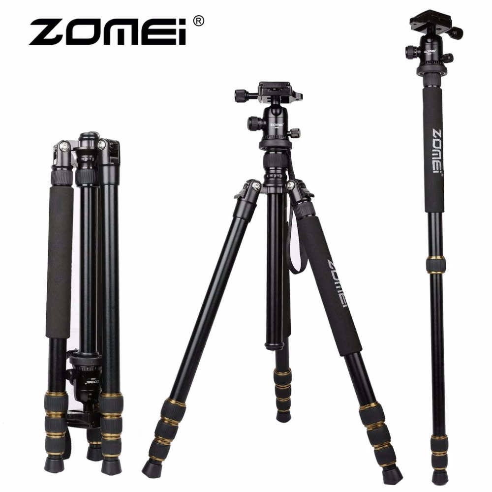 ZOMEI Lightweight Portable Q666 Tripod Professional Camera Tripod Monopod Aluminum Ball Head For Digital SLR DSLR Camera benro a35fbr1 original tripod for slr camera reflexum professional tripod aluminum tripod functional monopod climbing stick