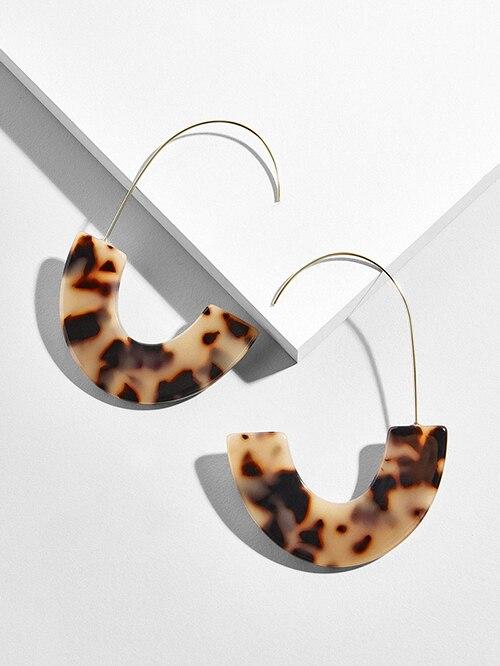 Женские леопардовые фигурные серьги ZA, висячие серьги черепаховой расцветки из акрилацетата, украшения для вечеринок - Окраска металла: 103852