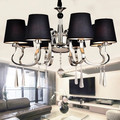 Современная люстра абажур из черной ткани люстра современное освещение гостиная свет высокое качество металлическая краска