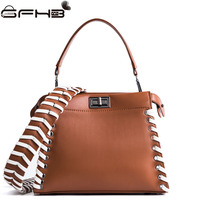 Knitting Peekaboo Bag Women Handbag Famous Brands Michaeled Handbags Fashion Style Lock Design PU Leather Shoulder
