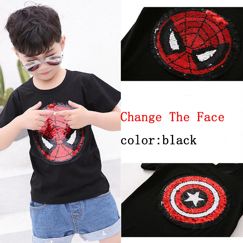 Hot 2018 new change face magic discoloration sequin  Captain America cartoon paillettes t shirt  for boys 2-9 years