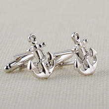 Fashionable Silver Plated Anchor Cufflinks