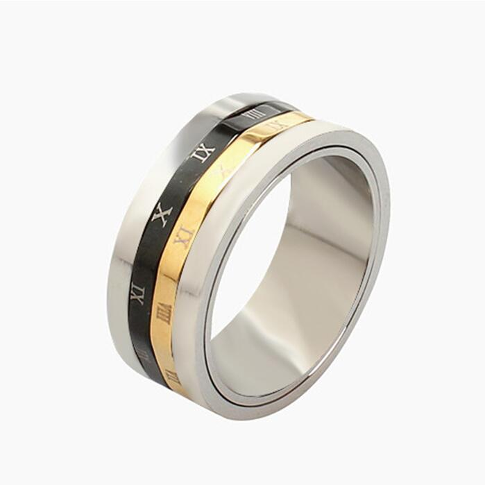 gear rome number rotating band spinner ring men in well polished stainless steel cool mens funny - Gear Wedding Ring