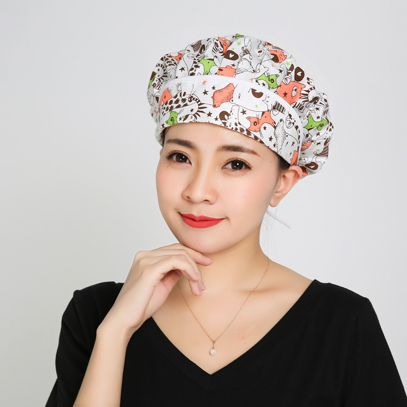 New Unisex Hospital Printed  Surgical Caps 100% Cotton Doctor Nurse Medical Caps Lab Clinic Dental Scrub Caps Adjustable QH53