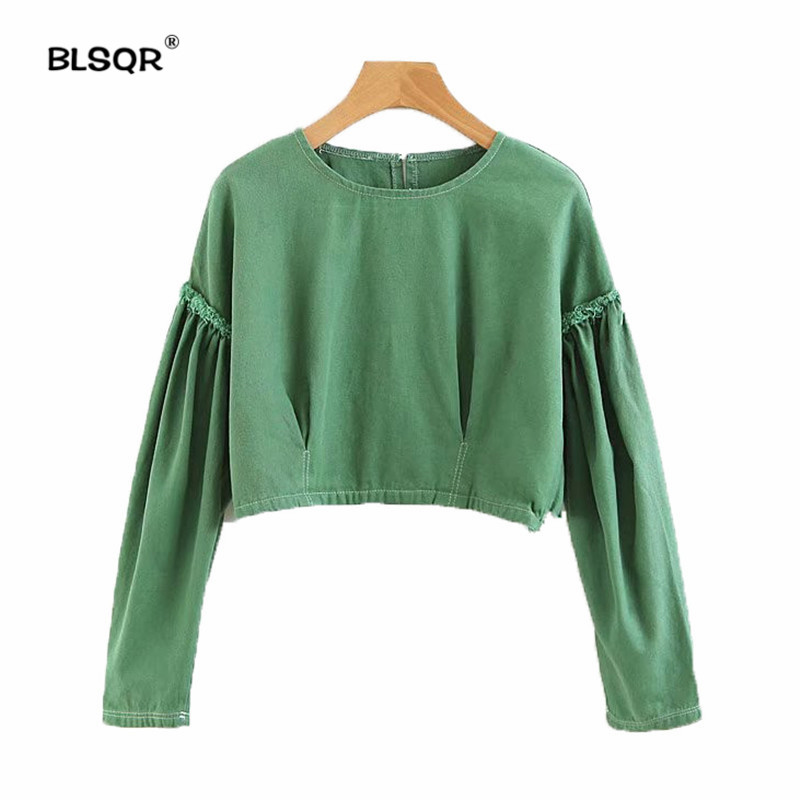 Women's Clothing New Autumn Fashion Women Shirts Lantern Loose Solidlt Chiffon Full Sleeve Set Head Blouse Shirt Army Green White 3055 Fashionable Patterns