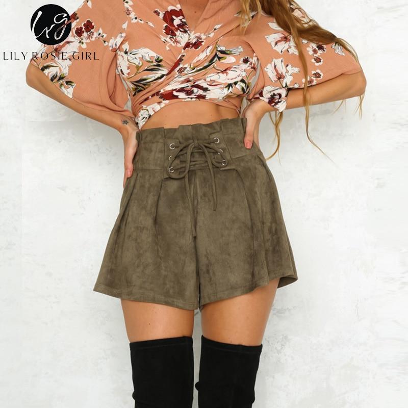 Lily Rosie Girl Lace Up Elastic High Waist Casual Black Shorts Women 2018 Autumn Winter Khaki Shorts Lady Loose Short Pants