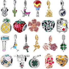 Free Shipping Apple Balloon Flower Lucky Clover Pendant Diy Bead Fit Original Pandora Bracelet Charms Bangle Chain Necklace Gift(China)