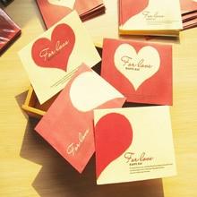 Получить скидку 10 шт./лот 9.8*7.4 см Винтаж мини красное сердце любовь Бумага Конверт Карточка участника конверт благословение в форме сердца конверт 4 цвета