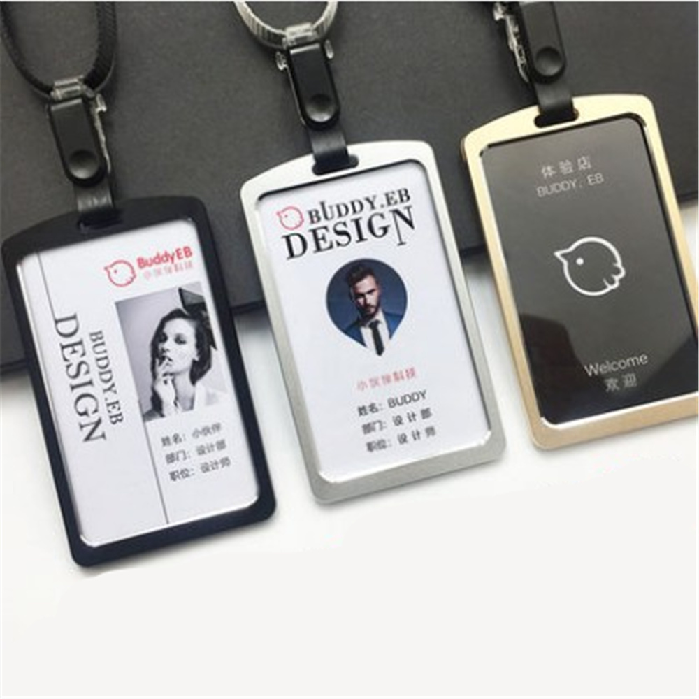 Aluminum Alloy Business Work Card ID Badge Lanyard Holder Hot Vertical Metal 5.9*10cm