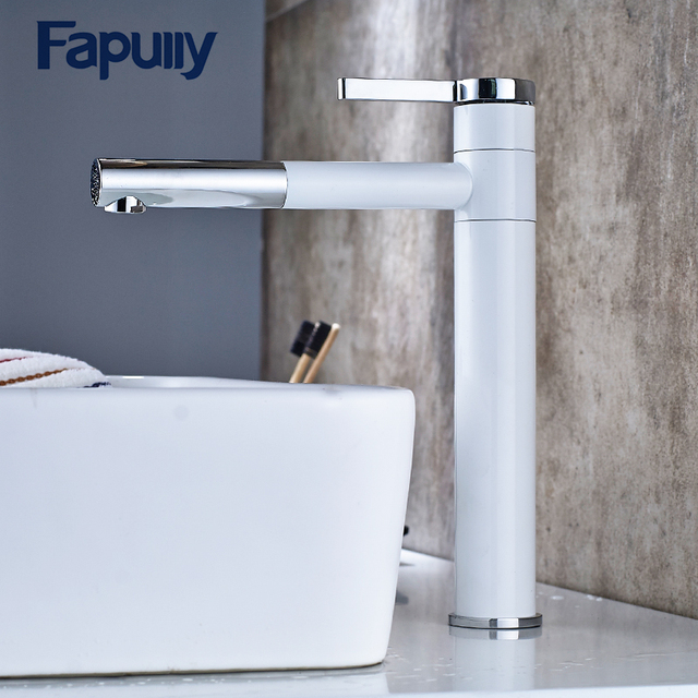 Fapully Bathroom Faucet Mixer Tap 360 Degree Rotate Type Basin Single Hand White And Chrome