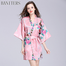 BANITERS The new 2017 peacock flower printed robe In the high-end emulation silk sleeve nightgown Luxurious robe woman pajamas(China)