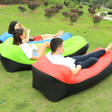 Fast Inflatable Camping Sleep Bed Air Sofa Beach Bed Banana Lounger Air Bed Lazy Sleeping Bag With Side Pocket