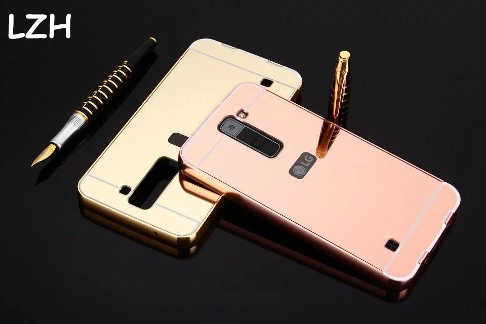 Модные Алюминий Рамки акрил зеркало обложка чехол для LG K8 K350 роскошные 2 в 1 съемная Защитный чехол для LG k8 В виде ракушки