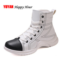 Men High top Sneakers Brand Casual Shoes Men Soft Leather Fashion High Man Shoes Black White Sneakers KA408