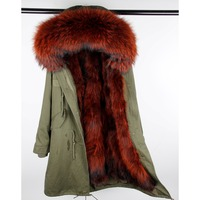 MaoMaoKong woman X Long Natural Color fur parka Raccoon Fur real jacket coat Casual winter Fashion Woman Luxurious Parka Large