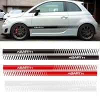 YONGXUN 2pcs Car Styling Abarth Side Skirt Sticker Racing Stripe Body Stickers For FIAT 500 Dd9390