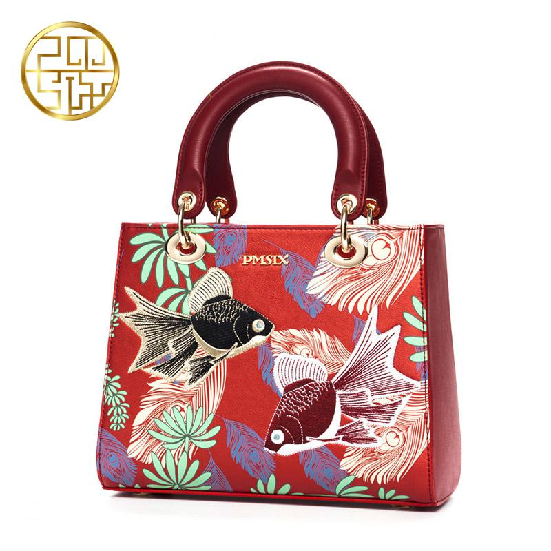 Pmsix Ladies Embroidery Handbags Leather Bag Women Brand Luxury Designer Totes For Women Casual Floral Versatile Zipper Satchels