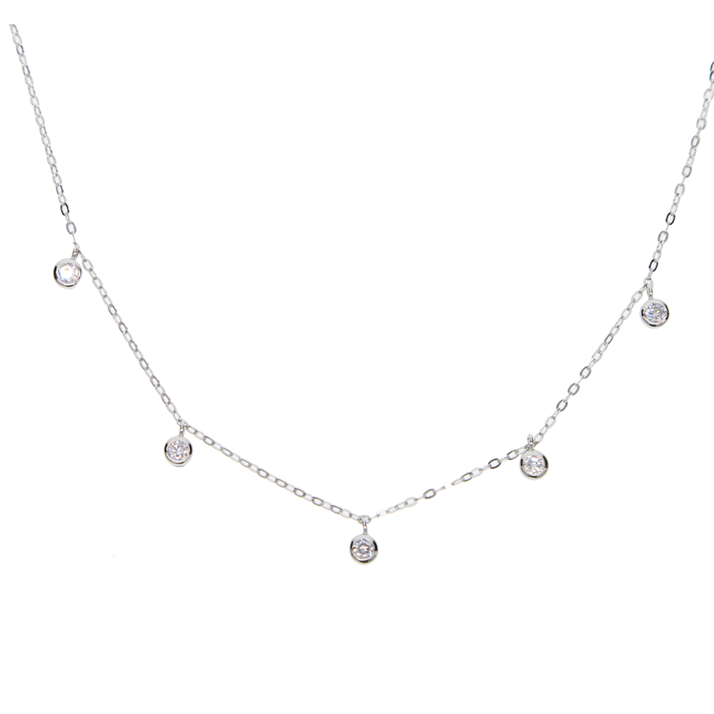 100% 925 sterling silver 5pcs tiny 3mm cz drop dots charm delicate thin silver chain statement cz station necklace