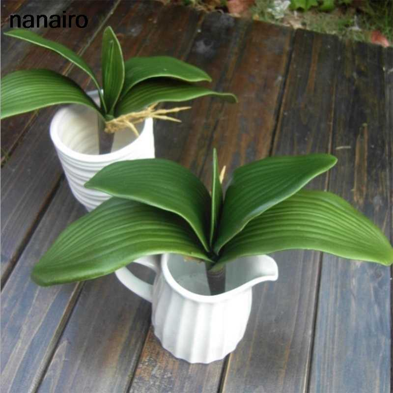 1 Pcs Real Touch Kunstmatige Plant Phalaenopsis Blad Plant Bloemen Voor Wedding Home Decoration Party Festival Supplies