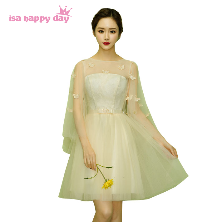 top fashion woman short champagne color prom pageant dress lace tulle party dresses with cap sleeves 2017 new arrival H4021