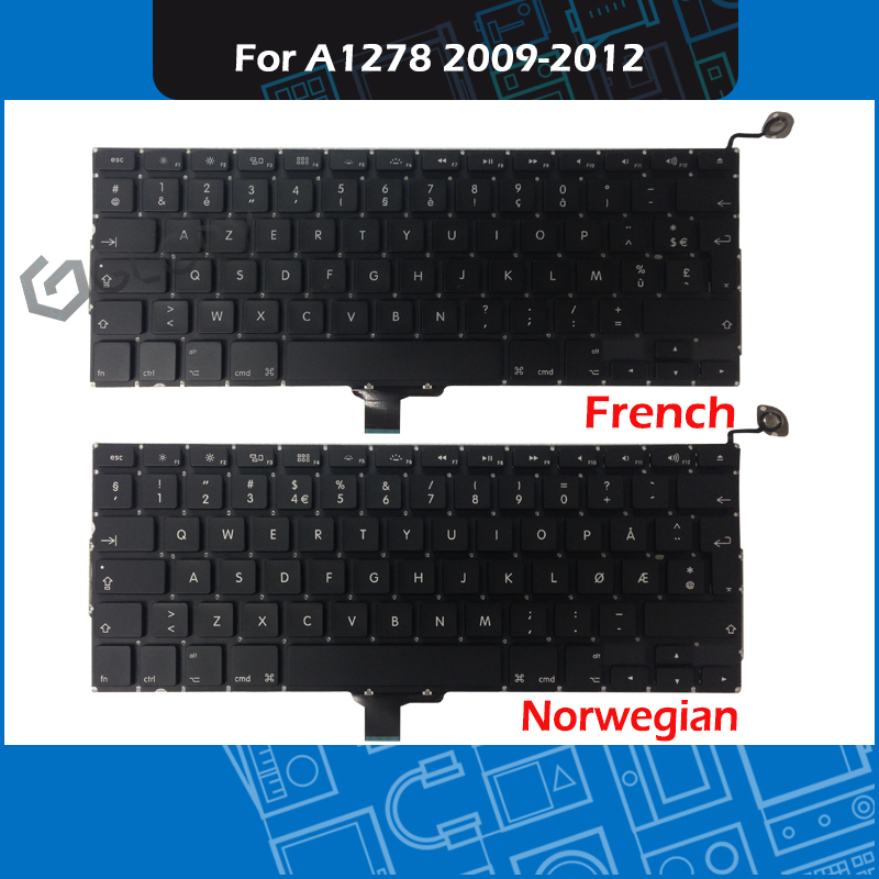 New Laptop A1278 French Norwegian Keyboard for font b Macbook b font Pro 13 Unibody A1278