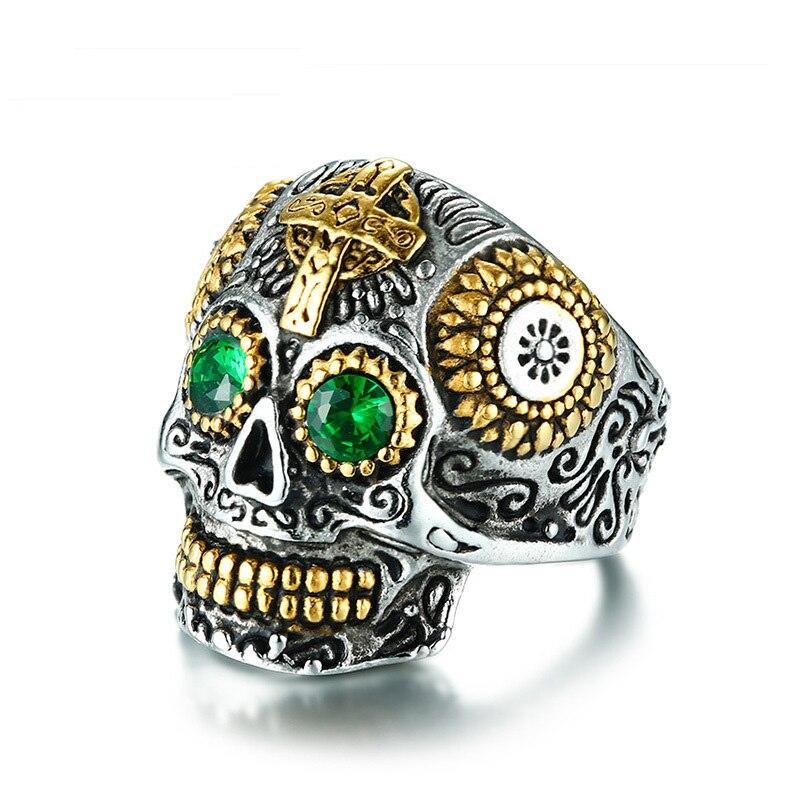 Горячая Распродажа тибетского буддизма Резные черепа кольца нержавеющая сталь ip-позолота блестящими стразами мужские кольца