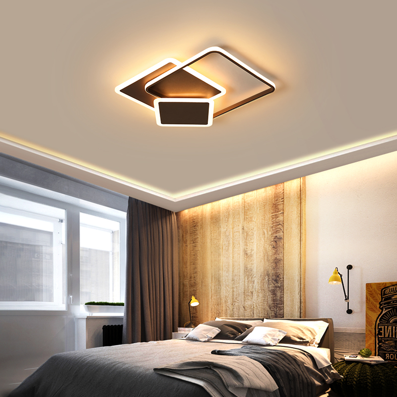 New Surface mounted led Chandelier lights for Bed room White/Brown Remote dimming modern chandelier Home decor lights fixturesNew Surface mounted led Chandelier lights for Bed room White/Brown Remote dimming modern chandelier Home decor lights fixtures