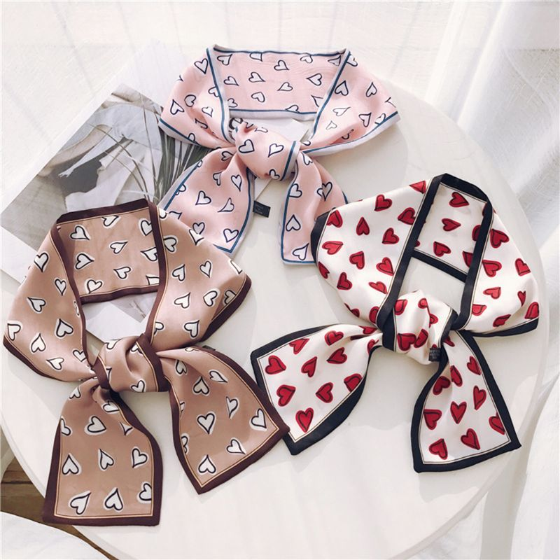 Women Girl Decorative Neckerchief Headwrap Contrast Color Trim Polka Dot Retro Floral Long Scarf Imitation Handbag Wrist Ribbon in Women 39 s Scarves from Apparel Accessories