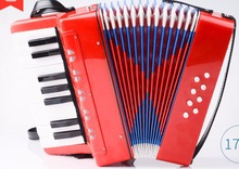 17 Key 8 Bass Accordion with Adjustable Strap Professional Educational Music Instrument For Beginners Children Toys