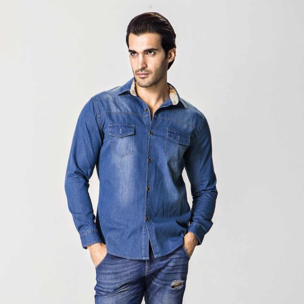 2016 новинка, большие размеры, M-6XL, высококачественные мужские джинсовые рубашки, хлопок, тонкий бренд Camiseta Masculina, повседневные джинсовые рубашки, мужские рубашки