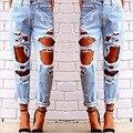 Jeans rasgado Para As Mulheres Oco Out Soltos Calça Jeans Mulher Plus Size Calça Jeans Feminina Denim Pant Calças lápis calça jeans boyfriend