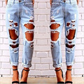 Ripped Jeans For Women Hollow Out Loose Jeans Woman Plus Size Jeans Female Denim Pant pencil Pants boyfriend jeans