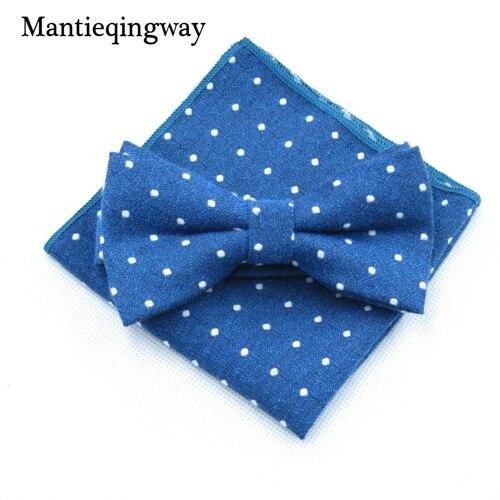 Mantieqingway мужской хлопчатобумажный галстук-бабочка носовой платок набор бизнес костюмы бантики точка карман квадратное полотенце для сундуков Hankies для свадьбы - Цвет: MYBZZ054BU