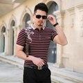 Полосатый рубашки поло горячая распродажа мода 2016 лето с коротким рукавом поло с отложным воротником поло хомбре мужская свободного покроя брендов-поло 5XL