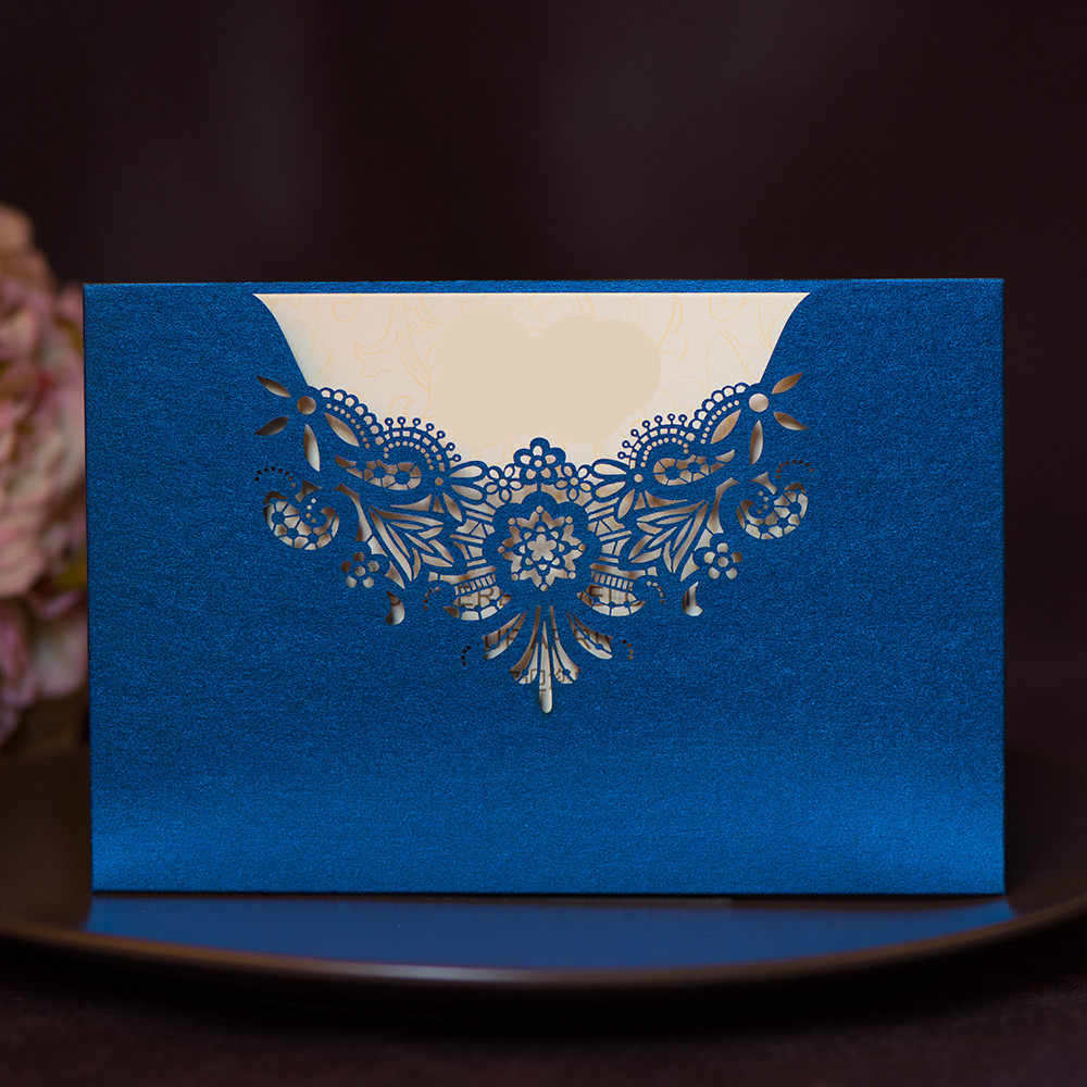 Purple Tiffany Blue Gold Laser Cut Wedding Invitations 50pcs