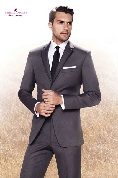 2015 High Quality Dark Grey Fashion Men Slim Fit Suits Business ...