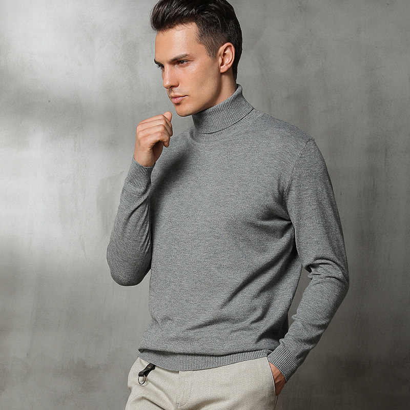 Autumn and winter new high neck cashmere sweater men's loose